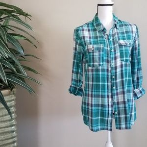 Mossimo Supply Co. Plaid Button Up Sz Large